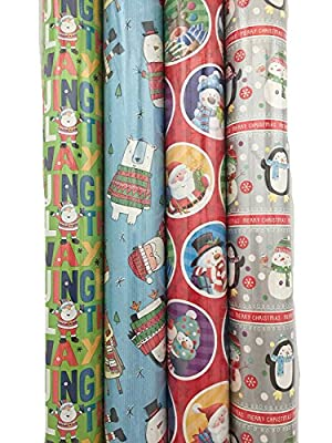4 x 5M Rolls of Christmas Gift Wrap Paper Wrapping Santa Xmas Characters
