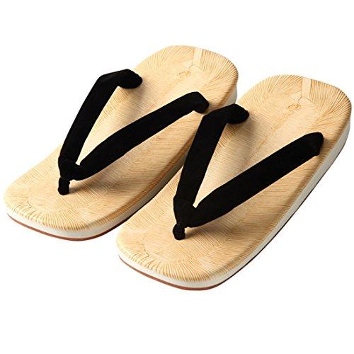 [江戸てん] 雪駄 草履 日本製 黄タタミ 滑りにくいアメ底 黒鼻緒 LL