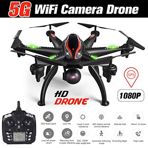 HWUKONG Aviones De Control Remoto Aviones No Tripulados Helicópteros, Modo Doble GPS WiFi 5G 1080P Cámara Fotografia Continuación Elegante 6 Axis Gyro Quadcopter Fotografía Aérea