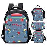 Hiergtly Good Guys Backpacks,Cute Backpack Set 4 Piece(School Bookbag+Single shoulder bag+Lunch Box+Pencil Case)