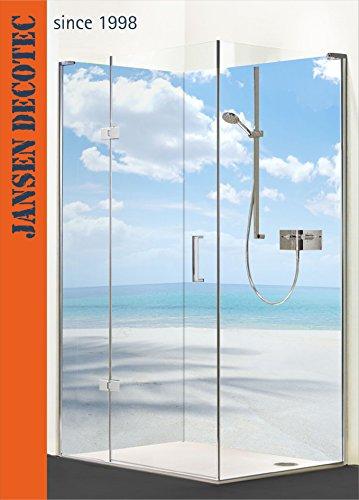Eck - Duschrückwand, 2 Segmente je 90x200cm, Motiv: Strand_Azurblau - KOSTENLOSER Zuschnitt auf Ihr Wunschformat !