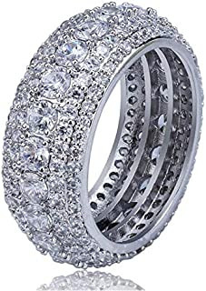 Luxury argenteous men's ring 5 layers of micro-inlaid diamond wide-neck ring European and American hip-hop tide ring acces...