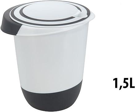 Preisvergleich für Rührschüssel mit Deckel 1,5 Liter Rühröffnung Stoppboden Spritzschutz Schüssel 1,5L Frischhaltedose Weiss schwarz