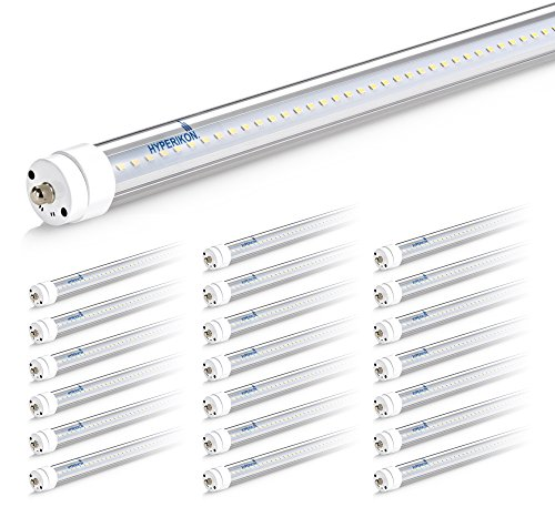 Hyperikon 8 Foot LED Tube, T8 T10 T12 36W=75W, Ballast Bypass, Clear Lens, UL, Crystal White, 20 Pack