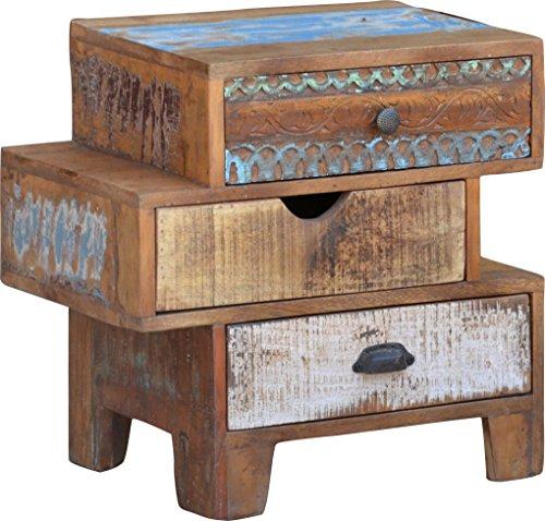 Guru-Shop Ladekast met 3 Lades in Vintage Uitvoering - Model 9, Bruin, 53x54x33 cm, Kleine Kasten