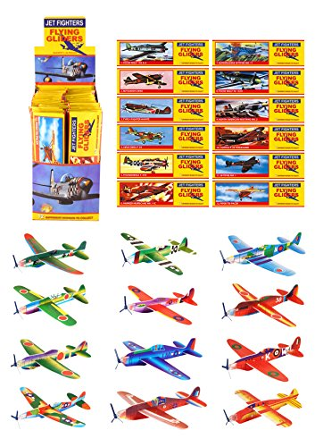 Henbrandt 48 Flying Glider Plane Kits - Childrens Party Bag Filler - ww2 Planes by