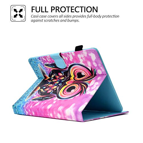 Casii Universal-Schutzhülle für 20,3 cm (8 Zoll) Tablets, PU-Leder, mit Kartenfächern, für iPad Mini 1 2 3 4 5, Sam Sung Galaxy Tab, Amazon Fi re H D 8, Huawei Android iOS Tablet, Eule