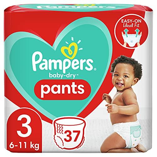Pampers Baby-Dry Pants 3, 37Höschenwindeln, Einfaches An- und Ausziehen, Zuverlässige Pampers Trockenheit, 6kg - 11kg