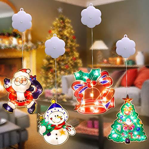 Hepside(4 Pezzi)Luci LED Natale Babbo Natale,Campane,Pupazzo di neve,Albero con Luci Natalizie a Batteria con Ventosa per la Decorazione Della Finestra negozio della camera dei bambini,esterne,interno