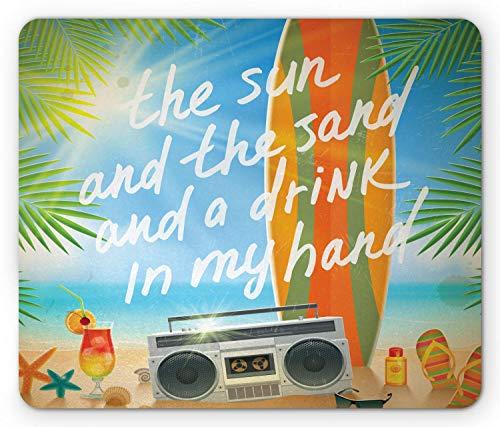 Alfombrilla De Ratón Alfombrilla Antideslizante Playa Tropical con Tabla De Surf Hojas De Palmera Chanclas Y Gafas De Sol Alfombrilla De Goma Antideslizante Mouse Pad