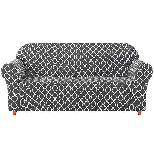 subrtex Sofabezug mit Muster Stretch Sofahusse Elastisch Sesselhusse mit Armlehne Couch überzug Weich Stoff Abwaschbar (3 Sitzer, Grau)