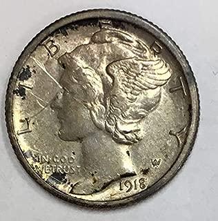 1918 S Mercury Dime 90% Silver 10c VF