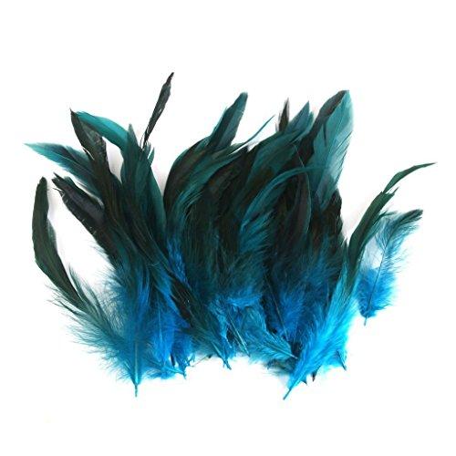 Milopon 50x Federn Natürliche Hahn Federn Zierfedern Wohnkultur Partei DIY Ornamente Bastelbedarf Blau