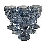 Homevibes Juego Set de 6 Copas De Vino, Copas de Vino con Relieve, Diseño Retro, Cristaleria De Calidad, Capacidad 330ml, Muy Resistentes (Cristal Blue)