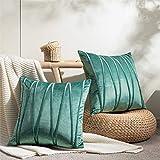 Top Finel Juegos 2 Hogar Cojín Terciopelo Suave Decorativa Almohadas Fundas de Color Sólido para Sala de Estar sofás 50x50cm Verde Claro