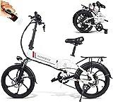 Bicicleta eléctrica plegable Carsparadisezone, hasta 25km/h, 7 velocidades ajustables 20 pulgadas 350W con 48V 10.4AH Batería de litio recargable, Bicicleta de montaña unisex para adultos