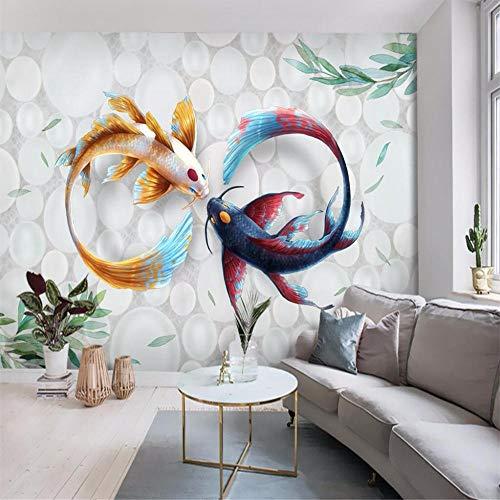 Tapeten Wandbild Hintergrundbild Fototapetecustom Wallpaper Hand Painted Modern Stylish Watercolor Koi Fish Fresco Tv Couch Background Wall Murals 3D Wallpaper-About_250*175Cm_2_Stripes