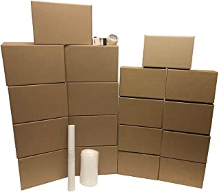 High Value Kit 1: 18 Boxes, 9 Small Boxes, 9 Medium Boxes, 110 Yards of Packing Tape. 1 Clamshell. 24 cu.ft Covered. Move with Confidence. Everything You Need to Pack, Wrap & Protect Your Goods