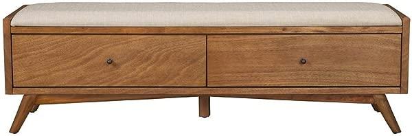 Alpine Furniture 966 12 Flynn Mid Century Bench 59 W X 15 D X 18 5 H Acorn