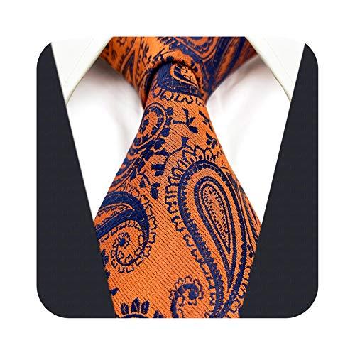 S&W SHLAX&WING Corbatas de hombre Corbatas de Paisley para hombre Corbata de tamaño clásico azul naranja