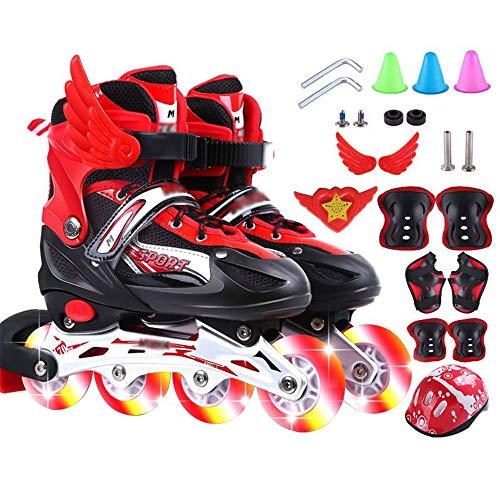 SSCYHT Einstellbare Fitness Inline-Skates Sichere und langlebige Rollschuhe Inline-Skates mit Allen beleuchteten Rädern mit Musik,Rot,S(26 to 32)
