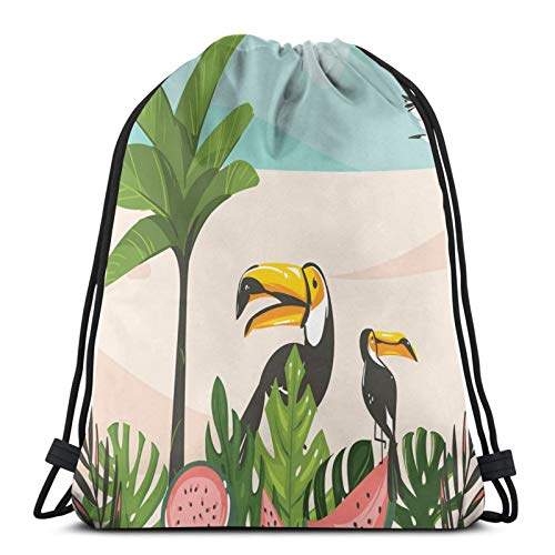 Cartoon Illustration With Watermelons Toucans Leaves Palm Tree And Seagull,Gym Drawstring Bags Backpack String Bag Sport Sackpack Gifts For Men & Women