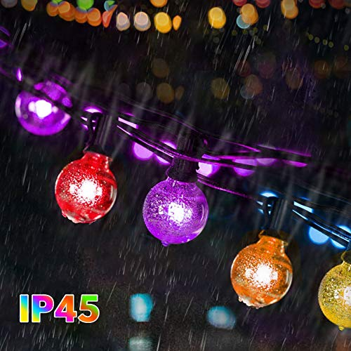 Colorful Outdoor String Lights, Bomcosy 50FT Commercial Grade IP45 Festoon Lights Outdoor, Warm White 2700K & Color Changing LED Bulbs, Dimmable String Lights for Garden, Party, Bar, Cafe Shop, Patio