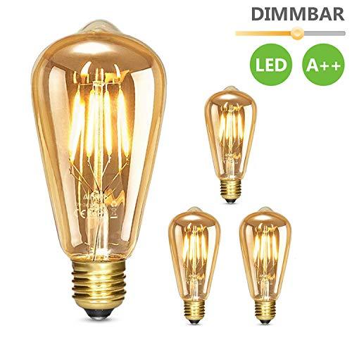 Albrillo Edison Vintage Glühbirne E27 - Dimmbar 6W 530 LM LED Filament Lampe, Ersazt 80W Halogenlampen, Warmweiß 2500K Antike Lampe Ideal für Nostalgie und Retro Beleuchtung im Haus Café Bar, 3er Pack