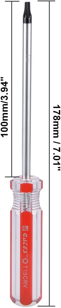 uxcell Torx Screwdriver T27 Security Magnetic Star Screw Driver with 4 CR-V Shaft and Clear Red Handle