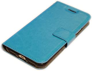 iPhone 12 mini 5.4インチ フェイクレザー 合成皮革 手帳型 フリップ カードホルダー スタンド 無地 ケース カバー ライトブルー