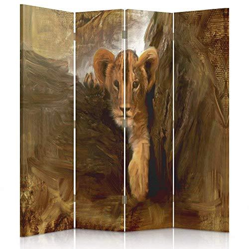 Feeby Frames. Raumteiler, Ggedruckten aufCanvas, Leinwand Wandschirme, dekorative Trennwand, Paravent einseitig, 4 teilig (145x150 cm), Afrika, LÖWENJUNGES, Baum, BRAUN, ORANGE, Eindruck
