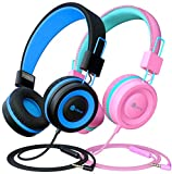 [2 Pack] iClever HS14 Kids Headphones with Microphone, Headphones for Kids with Safe