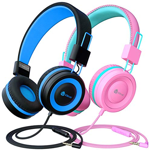 [2 Pack] iClever Kids Headphones with Microphone, Headphones for Kids with Safe Volume Limited 94dB, Adjustable Headband, Foldable Children Headphones for Boys/Girls/School/Travel/iPad, Black&Pink