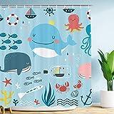 VIMMUCIR Kinder-Duschvorhang, süßer Wal, nautischer Ozean, Koralle mit bunten Oktopus, tropische Fische, Wasserdichter Polyester-Stoff, 183 x 183 cm, Set mit Haken, Aqua 72