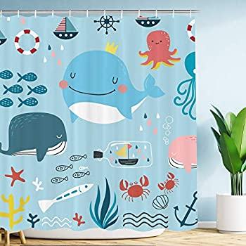 VIMMUCIR Cute Whale Kids Shower Curtain Cartoon Sea Animal with Colorful Ocean Octopus Tropical Fish Waterproof Polyester Fabric Curtains Set with Hooks for Bathroom 72 x 72 Inches