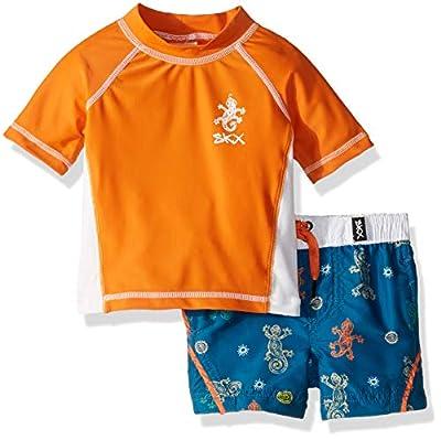 Skechers Boys' Baby Swimsuit Set with Trunks and Rashguard Swim Shirt, Orange/Navy Gecko, 24 Months