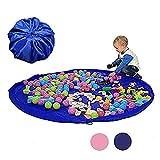 stshell おもちゃ 収納バッグ 収納袋 ベビー玩具収納袋 子ども プレイマット 折り畳み式 お出かけに便利 多用途 お片付け簡単 超大防水 特大マット 大容量 直径150cm ブルー