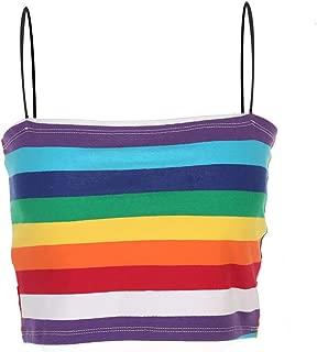 Women Rainbow Block Striped Spaghetti Strap Crop Tops Colorful Tank Tops