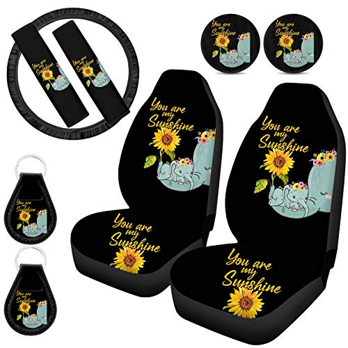 UZZUHI Elephant Sunflower Car Seat Covers/Steering Wheel Cover/Seat Belt Pads/Cup Holder...