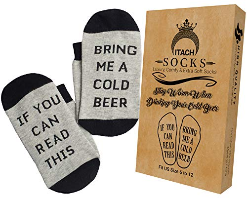 Funny Novelty Socks + Gift Box - If You Can Read This Bring Me a Cold Beer Socks - Warm Gift Idea for Birthday, Fathers Day and Best Friends - Black and Gray