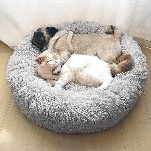 AYCPG Cama ortopédica for Mascotas for Grandes y Extra Grandes Perros, Sofá Cama del Perro Redondo del Perro Caliente con Felpa Inferior Impermeable Antideslizante lucar (Color : Grey, Size : 80cm)
