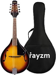 Rayzm Mandolina Tradicional Bluegrass en Color Sunburst Tostado con Funda Acolchada de Conciertos, Una Mandolina Acústica de 8 Cuerdas , Cuerpo de Tilo, Diapasón de Nogal y Mástil de Caoba