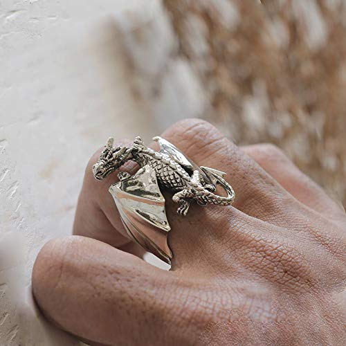 Dragon Ring Silver celtic Gift Fantasy Sterling Silver Jewelry biker gothic