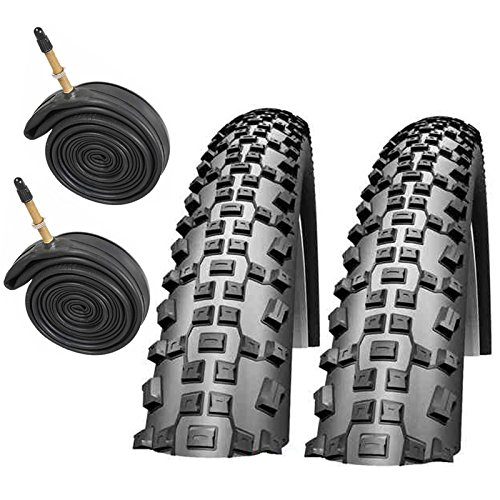 SCHWALBE Rapid Rob 26' x 2.10 Mountain Bike Tyres with Presta Tubes (Pair)