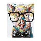 Xpboao Pintar por números - Cerdo con Gafas - Pintura de Arte Moderno - Kit de Pintura de Bricolaje Adecuado para Adultos y Principiantes - 40x50cm - Sin Marco