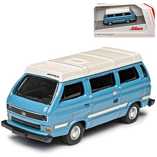 Volkwagen T3 Joker Westfalia Camper Bus Personen Transporter Blau mit Weiss 1979-1992 H0 1/87 Schuco Modell Auto Modell Auto