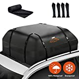 ISWEES Car Top Bag,Auto Cargo Carriers Roofbag Vehicle Truck Automotive Rooftop Luggage Storage Bag with/Without Rack,Waterproof Automobile Soft Roofbag for SUV Jeep Subaru Toyota Universal (Black)