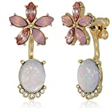 Lonna & Lilly Gold/Pink Flower Floater Earrings, Pink, One Size