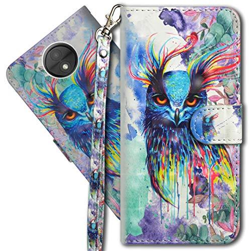 MRSTER Moto C Plus Handytasche, Leder Schutzhülle Brieftasche Hülle Flip Hülle 3D Muster Cover mit Kartenfach Magnet Tasche Handyhüllen für Motorola Moto C Plus. YX 3D - Colorful Owl