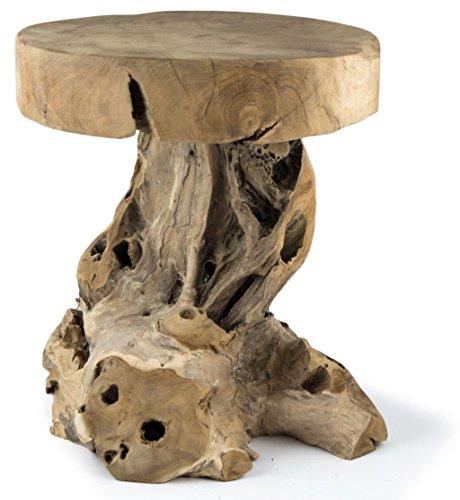 Möbelbörse Teak Hocker Sitzhocker Blumenhocker Beistelltisch Nachttisch Pflanzenhocker Blumenpodest Holz Mushroom